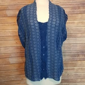Johnny Was blue eyelet lace button down top XXL